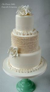 Vintage Lace And Pearl Wedding Cake - CakeCentral com