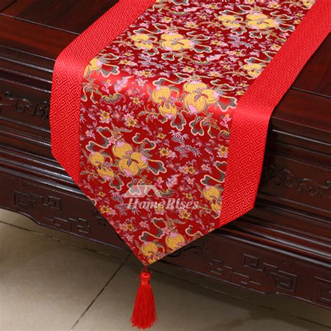 red table runner with 5 led lights table runner brown wholesale dinning room wedding fall satin
