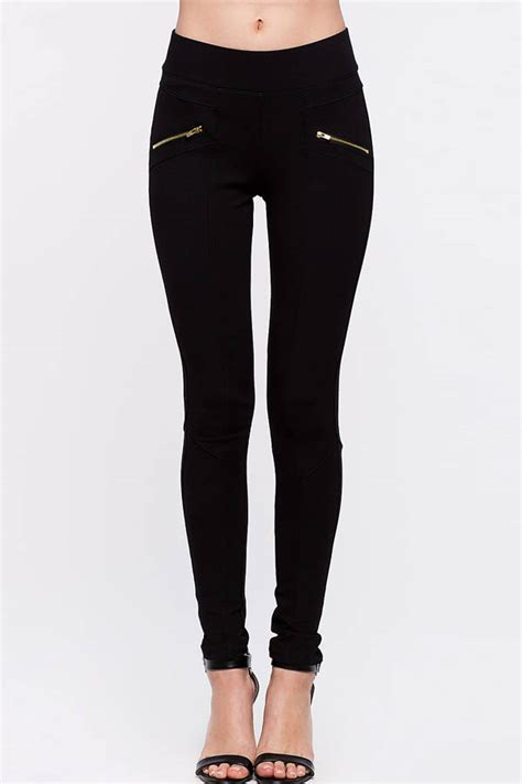Black Zipper Decor Skinny Pants Women Casual