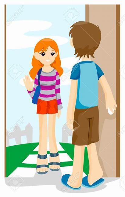 Visiting Visit Clipart Friend Friends Vector Door