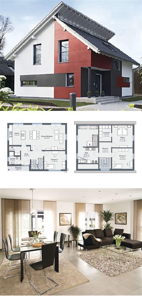 Einfamilienhaus Mit Pultdach Versetzt, Fassade Rot Weiß