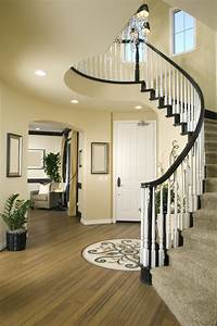 Modern, Entry, Way, With, Wood, Floor, And, Winding, Stairs