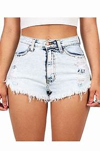 Outfits With Light Pink Shorts Womens Bleach Wash Ripped Jeans Shorts Light Blue