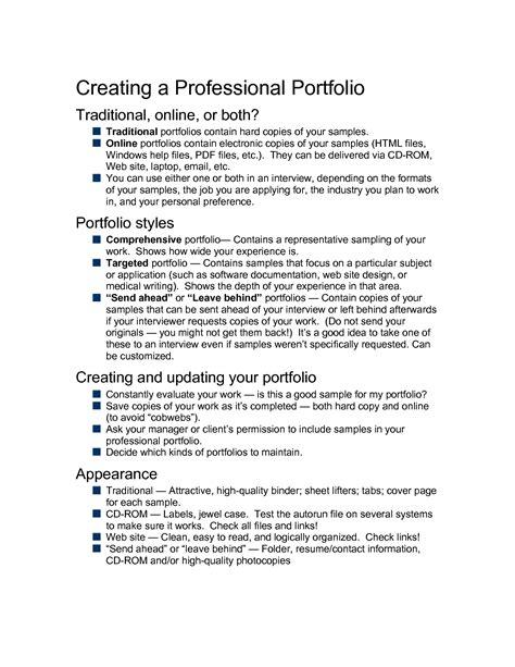 professional portfolio resume exles best photos of professional portfolio sles professional portfolio outline sle business