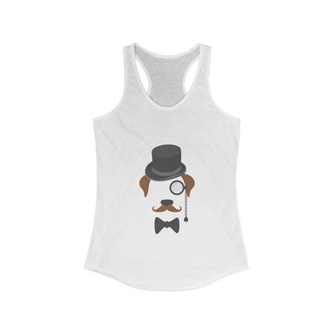 Gentleman Dog With Hat Womens White Tank Top Ongda Trends