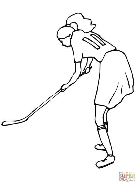 Kleurplaat As Hockey by Meisje Speelt Veldhockey Kleurplaat Gratis Kleurplaten
