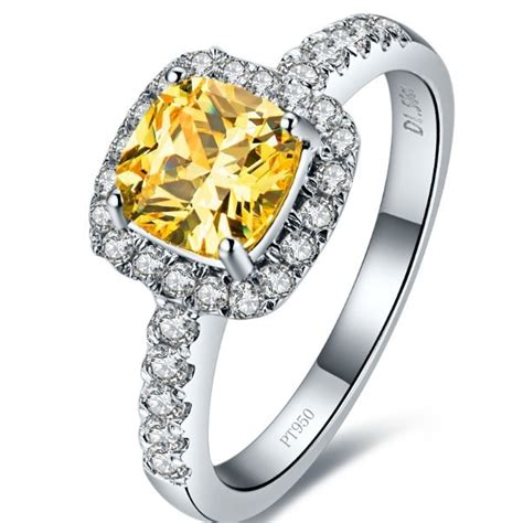factory wholesale affordable 2 carat 18k white gold ring princess cushion yellow simulate