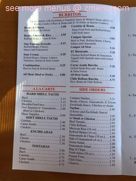 menu  campos famous burritos restaurant simi