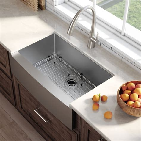 How Do You Measure A Kitchen Sink by Kraus Khf20033 33 Inch Farmhouse Single Bowl Stainless
