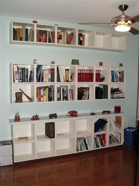 horizontal floating billy ikea hackers bookshelves  small spaces wall bookshelves