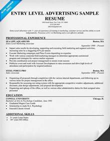 exle of entry level resume free entry level advertising resume sle resumes cover letters and portfolios
