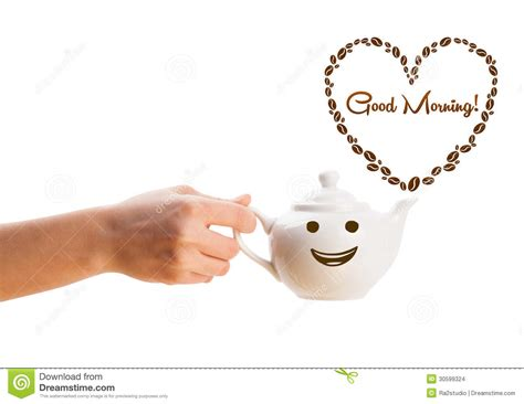 Coffee Pot With Coffee Beans Shaped Heart With Good Morning Sign Stock Images   Image: 30599324