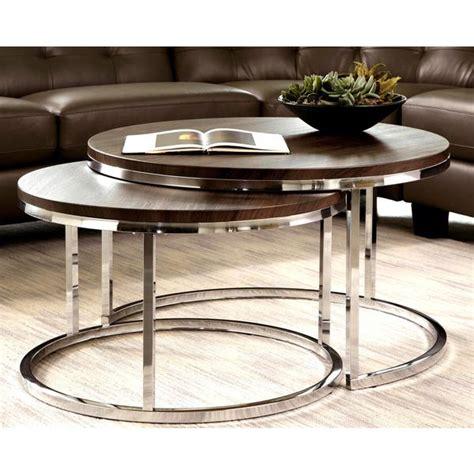 Mergot Modern Chrome 2piece Cocktail Round Nesting Table