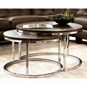Mergot modern chrome 2 piece cocktail round nesting table for Circle nesting coffee table