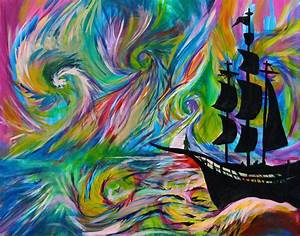 Handmade Painting - Psychedelic Ship- Pirate Ship