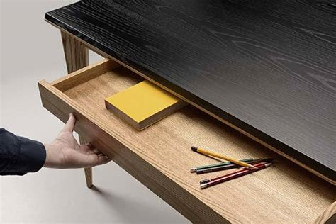 ollly wooden desk  compact drawer integrated phone
