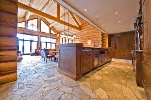 log floor ranch log home traditional kitchen by sitka log homes