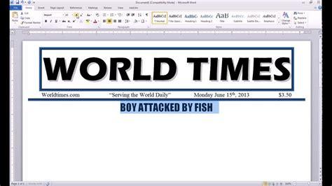 word  newspaper project headline youtube