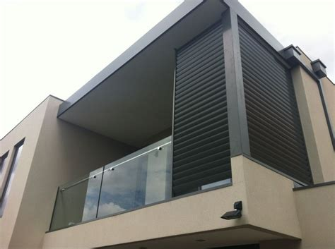 External Window Ledge by Powdercoated Aluminium Privacy Louvres Home Elevation In