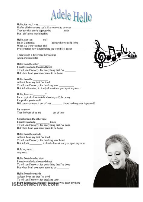 adele hello song esl worksheets of the day