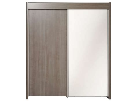 armoire 2 portes coulissantes easy 3 coloris noyer silver