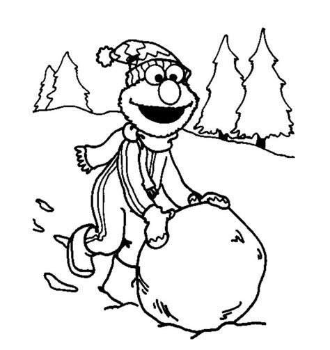 elmo playing snow winter coloring pages  kids winter