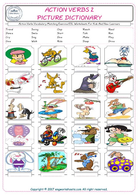 action verbs esl printable english vocabulary worksheets