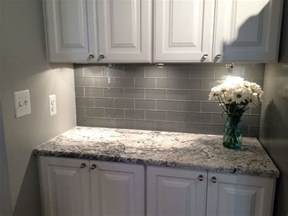 grey glass subway tile backsplash and white cabinet for small space home sweet home