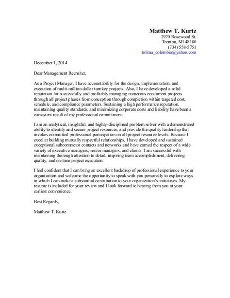 business project manager cover letter