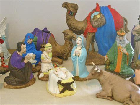vintage large ceramic nativity set figurines holland mold holy