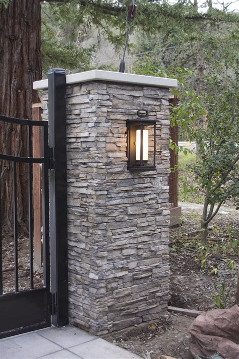 driveway gate lights the gate pinch me it s done eldorado stone stone and driveways