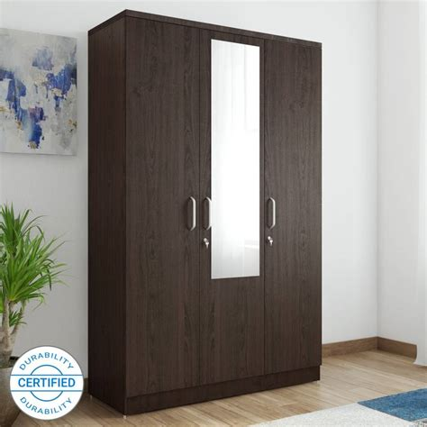 Wood Wardrobe With Mirror by Spacewood Engineered Wood Free Standing Wardrobe Finish