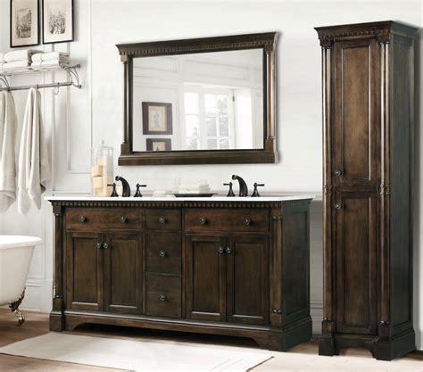 double vanity with linen cabinet 60 inch antique single sink bathroom vanity in antique
