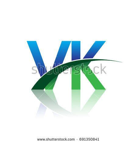 initial letter vk logotype company  colored blue