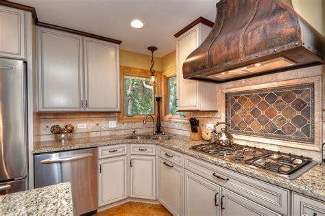 Copper tile backsplash kitchen transitional with mosaic