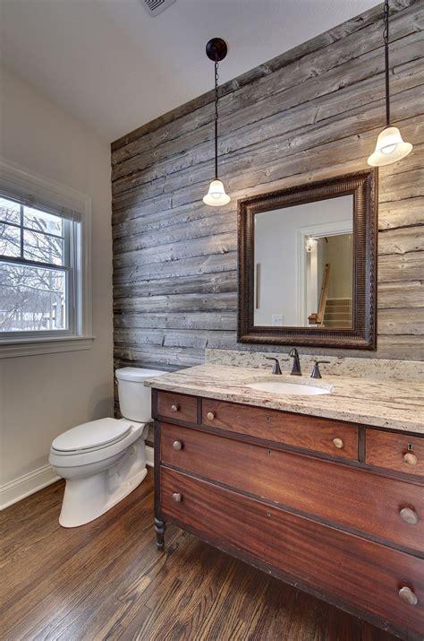powder room  barn wood accent wall vanity