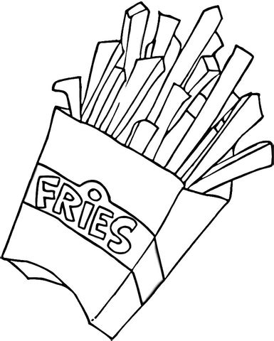 Fried Pumpkin Flowers Food by French Fries Coloring Page Supercoloring Com