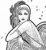Flapper Coloring Pages Dapper Adult Drawing Embroidery Flappers Sheets Craft Cards Colouring Books sketch template