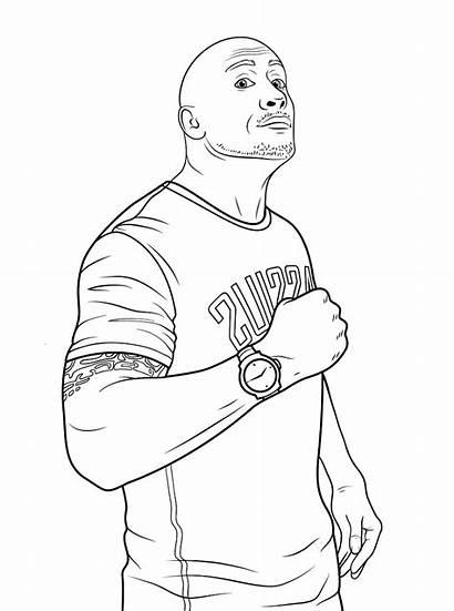 Coloring Johnson Dwayne Wwe Pages Printable Rock