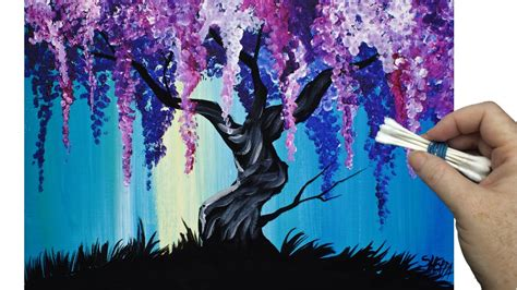 wisteria willow tree q tip painting technique for beginners easy acrylic painting youtube