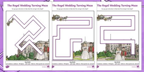 new lks2 royal wedding right angles turning maze differentiated worksheet