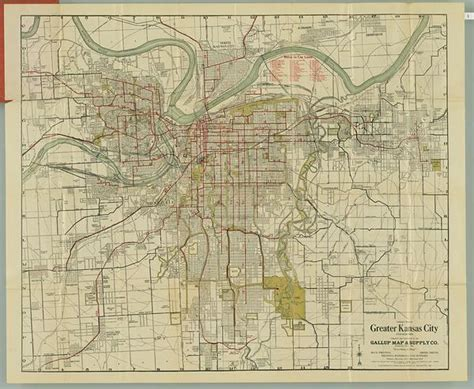 kansas city gallup map company antique map featuring