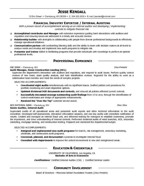 it audit manager resume exle audit manager resume free sle