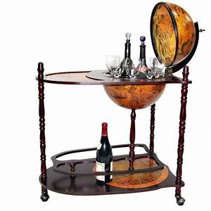 Bar A Roulette : bar globe en bois massif sur chariot avec roulettes porte gobelet et porte bouteille jago ~ Teatrodelosmanantiales.com Idées de Décoration