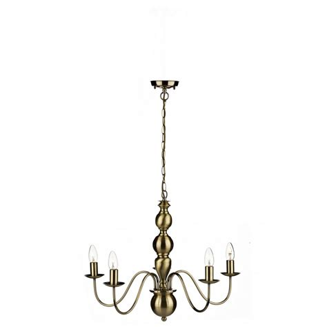 vaudeville antique brass chandelier with 5 candle lights