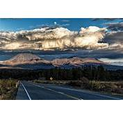 Mountain Volcano Clouds Sunset Road Highway Forest
