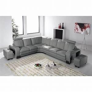 canape d39angle en cuir gris avec appuie tete relax havane With tapis bébé avec canapé d angle cuir gris