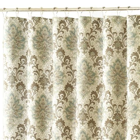 blue beige damask shower curtain for the home