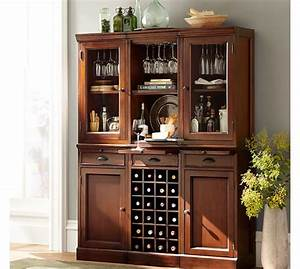 Modular bar system with 2 glass door hutch and 1 open for Home bar furniture china