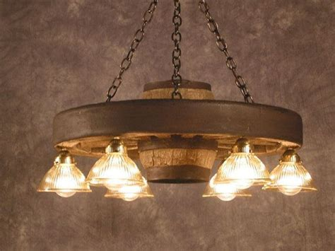 small wagon wheel chandelier downlights rustic lighting